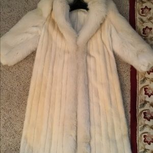 Jackets & Blazers - ELEGANT BEMBERG WHITE FOX MINK FUR FUL LENGTH COAT